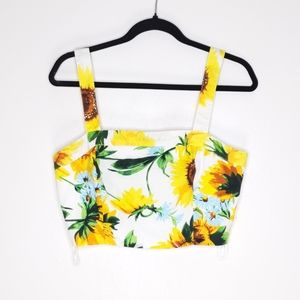 Ina Sunflower Square Neck Crop Top